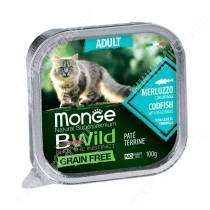 Консервы Monge Cat Bwild Grain Free для взрослых кошек (Треска), 100 г