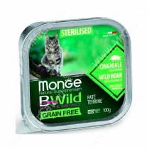Консервы Monge Cat Bwild Grain Free для взрослых стерилизованных кошек (Кабан), 100 г