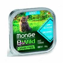 Консервы Monge Cat Bwild Grain Free для взрослых кошек (Анчоусы), 100 г