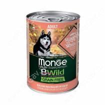 Консервы Monge Dog All Breeds Bwild Grain Free из лосося с тыквой и кабачками, 400 г