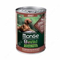 Консервы Monge Dog All Breeds Bwild Grain Free из ягненка с тыквой и кабачками, 400 г