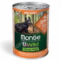 Консервы Monge Dog Mini Adult Bwild Grain Free из утки с тыквой и кабачками, 400 г