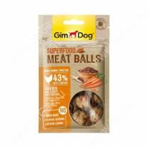Лакомство для собак Gimdog, мясные шарики из курицы с морковью и семенами льна, 70 г