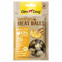 Лакомство для собак Gimdog, мясные шарики из курицы с бананом и кунжутом, 70 г