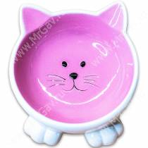 Миска керамическая Мордочка кошки на ножках КерамикАрт, 0,1 л, розовая