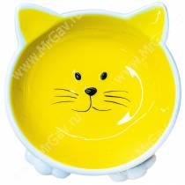 Миска керамическая Мордочка кошки на ножках КерамикАрт, 0,1 л, желтая