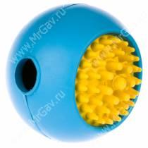 Мячик с ежиком JW Grass Ball из каучука, средний, голубой