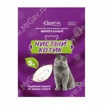 Наполнитель минеральный впитывающий Чистый котик, 5 л