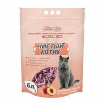Наполнитель растительный комкующийся Чистый котик Tofu персик