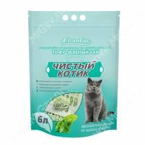 Наполнитель растительный комкующийся Чистый котик Tofu зеленый чай