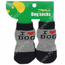 Носки для собак Triol, XL черно-серые