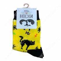 Носки унисекс Черные коты, желтый, р. 36-51