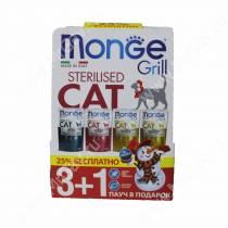Новогодний набор для стерилизованных кошек Monge Grill 3+1