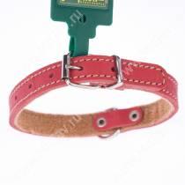 Ошейник кожаный Аркон, 32 см*1,6 см, с подкладкой, красный