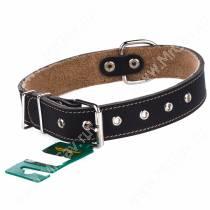 Ошейник кожаный Аркон, 57 см*3,5 см, с подкладкой, черный