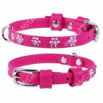 Ошейник кожаный Collar Glamour, 21 см*0,9 см, со стразами цветочек, розовый