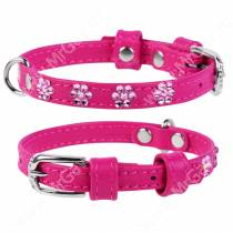 Ошейник кожаный Collar Glamour, 25 см*0,9 см, со стразами цветочек, розовый