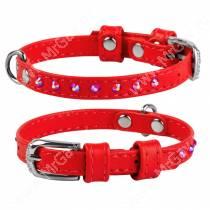 Ошейник кожаный Collar Waudog Glamour, 25 см*0,9 см, со стразами, красный