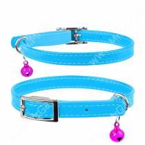 Ошейник кожаный с резинкой для котов Collar Waudog Glamour, 30 см*0,9 см, синий