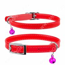 Ошейник кожаный с резинкой для котов Collar Waudog Glamour, 30 см*0,9 см, красный