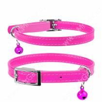 Ошейник кожаный с резинкой для котов Collar Waudog Glamour, 30 см*0,9 см, розовый
