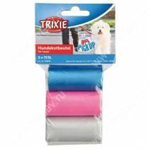 Пакеты для уборки за собаками Trixie, 3 л, 3 рулона по 15 шт., цветные