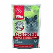 Пауч для кошей Blitz курица с потрошками, 85 г