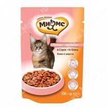 Пауч Мнямс для взрослых кошек с лососем, 100 г