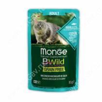 Пауч Monge Cat Bwild Grain Free для взрослых кошек (Треска и креветки), 85 г