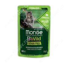 Пауч Monge Cat Bwild Grain Free для стерилизованных кошек (Кабан), 85 г