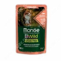 Пауч Monge Cat Bwild Grain Free для стерилизованных кошек (Лосось и креветки), 85 г