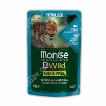 Пауч Monge Cat Bwild Grain Free для стерилизованных кошек (Тунец и креветки), 85 г