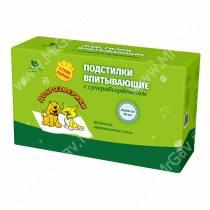 Пеленки впитывающие Доброзверики с суперабсорбентом, 60 см*60 см, 30 шт.