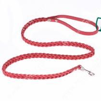 Поводок кожаный Аркон, 120 см*0,8 см, плетеный, красный