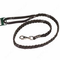 Поводок кожаный Аркон, 120 см*1,2 см, плетеный, черный
