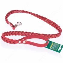 Поводок кожаный Аркон, 120 см*1,6 см, плетеный, красный