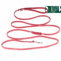 Поводок кожаный Аркон, 250 см*0,8 см, красный