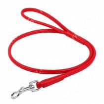 Поводок кожаный круглый Collar Glamour, 122 см*0,4 см, красный