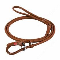 Поводок-удавка кожаный круглый Collar WAUDOG Soft, 135 см*0,6 см, коричневый