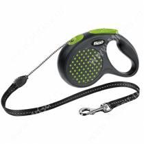 Рулетка Flexi Compact Design, M до 20 кг, 5 м, трос, зеленый горошек