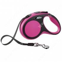 Рулетка Flexi New Comfort Compact, S, до 15 кг, 5 м, розовая